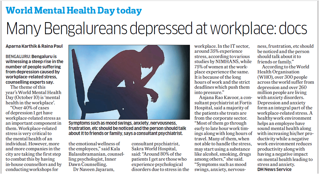 Mental health day 2017 - Workplace stress on the rise - Inner Dawn Counsellor Kalas Views featured on Deccan Herald