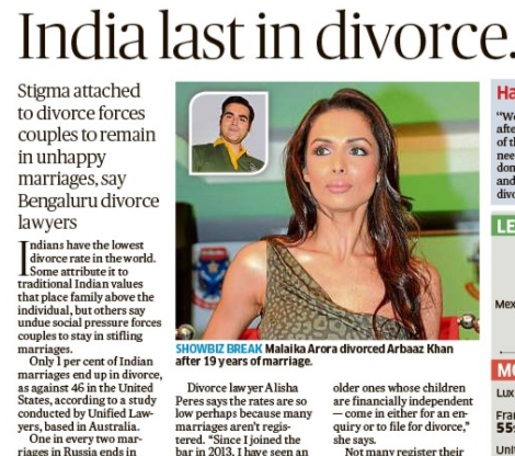 Indian Divorce rates lowest - does it mean couples are